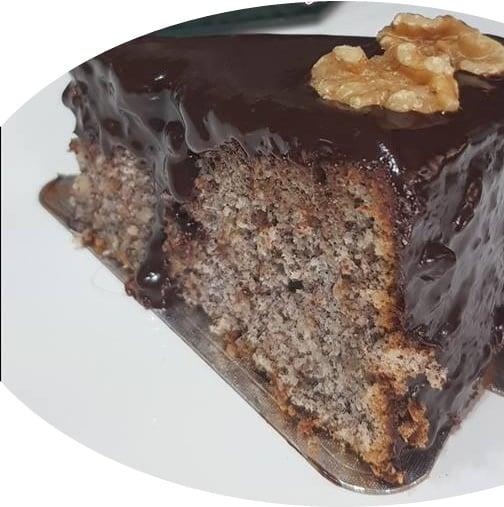 עוגת פרג בציפוי גנאש שוקולד