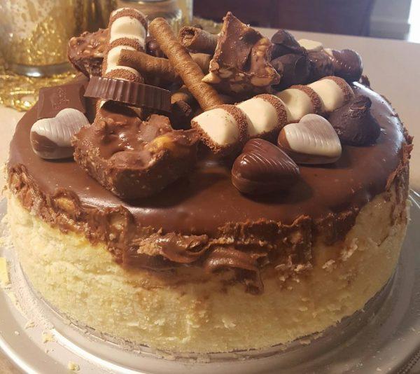 עוגת גבינה אפויה עטופה בגאנש קפוצינו_מתכון של נורית יונה