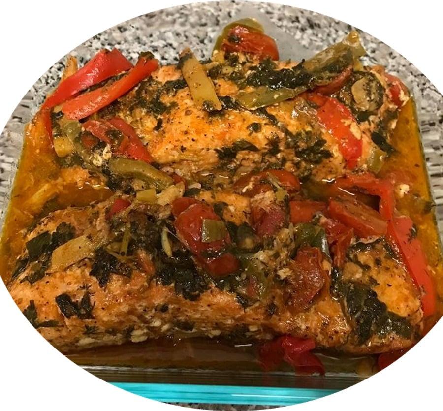 דגים סלמון בתנור חריף מתוק  מעדן