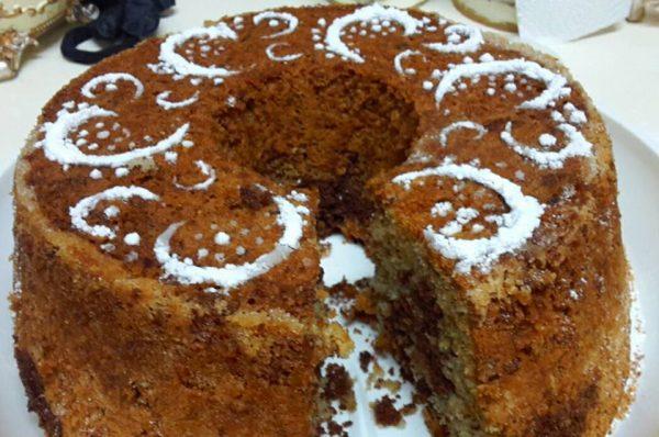 עוגת פוך תפוזים , קקאו ואגוזים מקורמלים