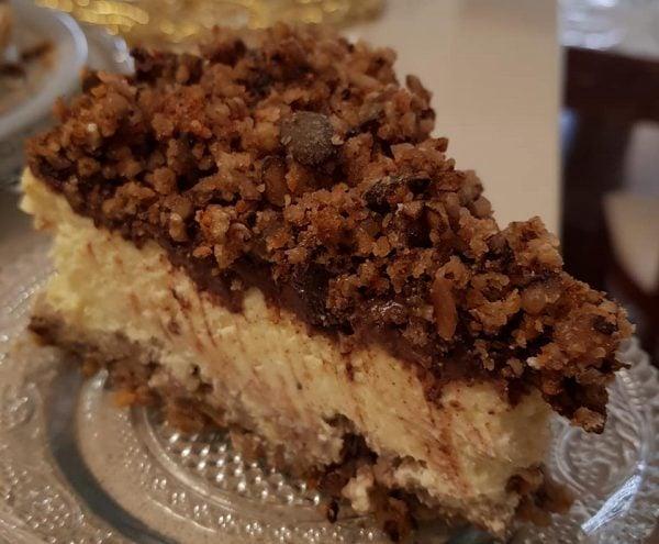 עוגת ניו יורק, שקדים, גנאש מריר ומיקס אגוזים