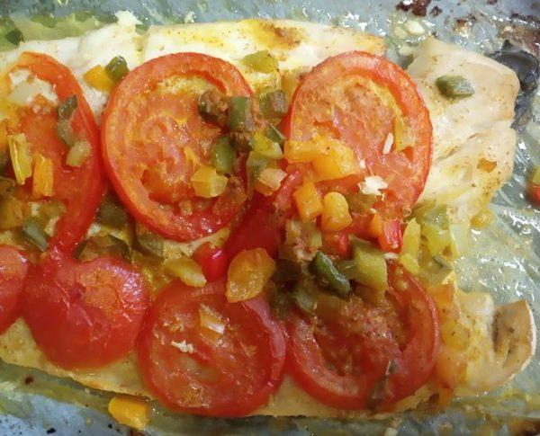 דג נסיכה עם ירקות בתנור