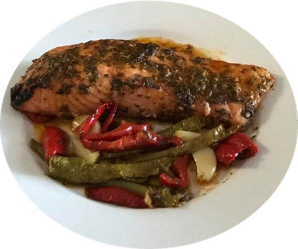 דג סלמון בתנור חריף אש חמוץ מתוק