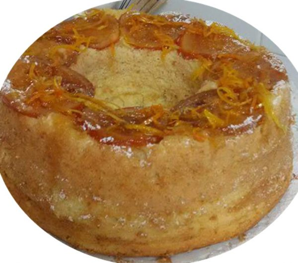 עוגת תפוזים הפוכה עם תפוזים מקורמלים