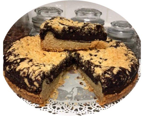 עוגת בצק פריך ושוקולד פרווה