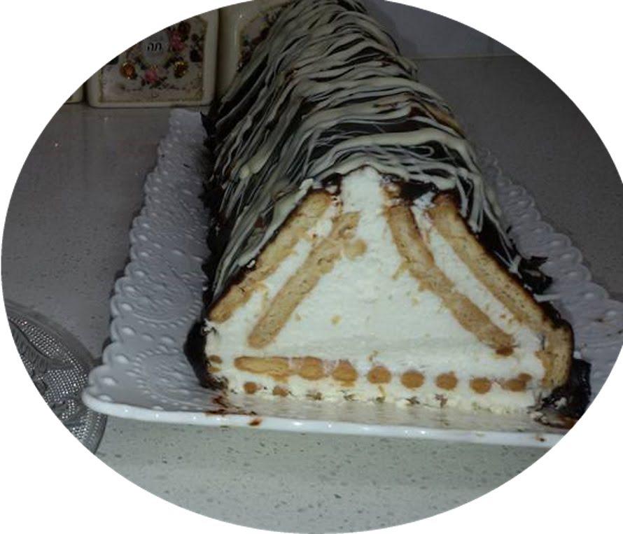 עוגת ביסקוטים עם גבינה משולשת
