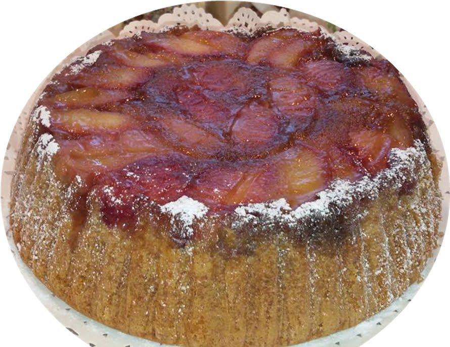עוגת מישמשים/שזיפים/תפוחים הפוכה