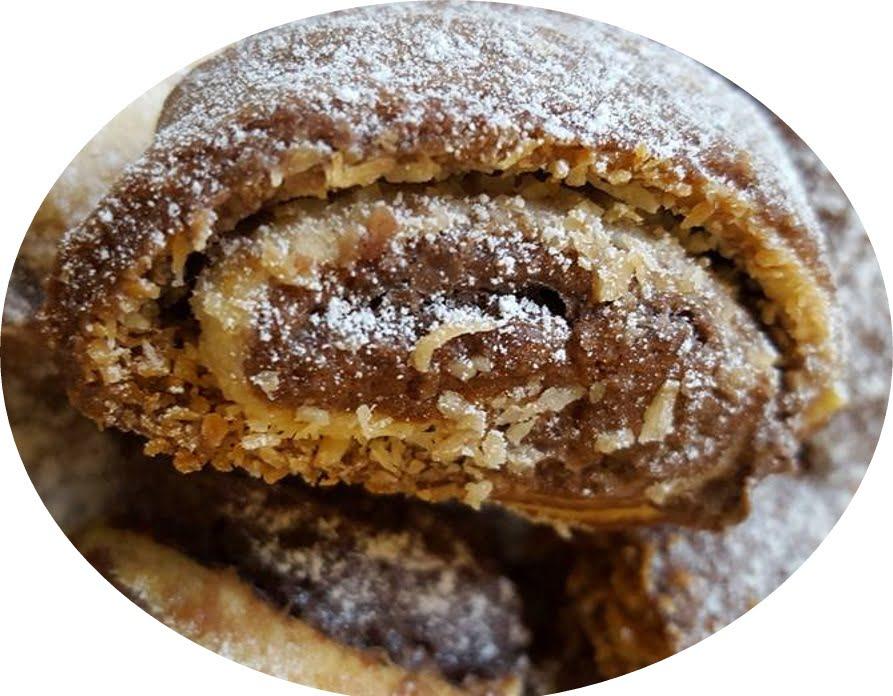 מגולגלות בבצק שוקולד ובצק בהיר במילוי שוקולד אגוזים וקוקוס