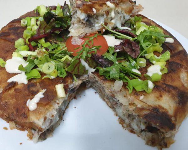 עלי בוריק במילוי בשר תפוחי אדמה ופטריות