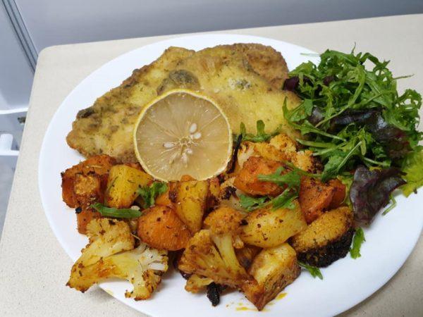 דג סול מטוגן ללא ביצה וירקות בתנור
