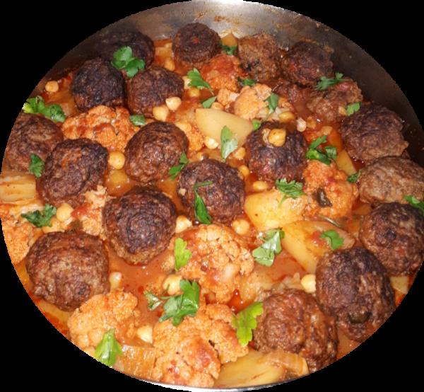 קציצות בשר עם כרובית תפוחי אדמה וגרגירי חומוס