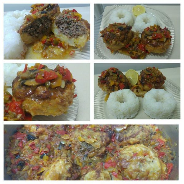 ארטישוק ממולא בשר , ירקות , טראיקי וצ'ילי