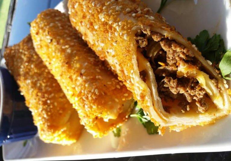 טורטיות מטוגנות במילוי בשר ופטריות