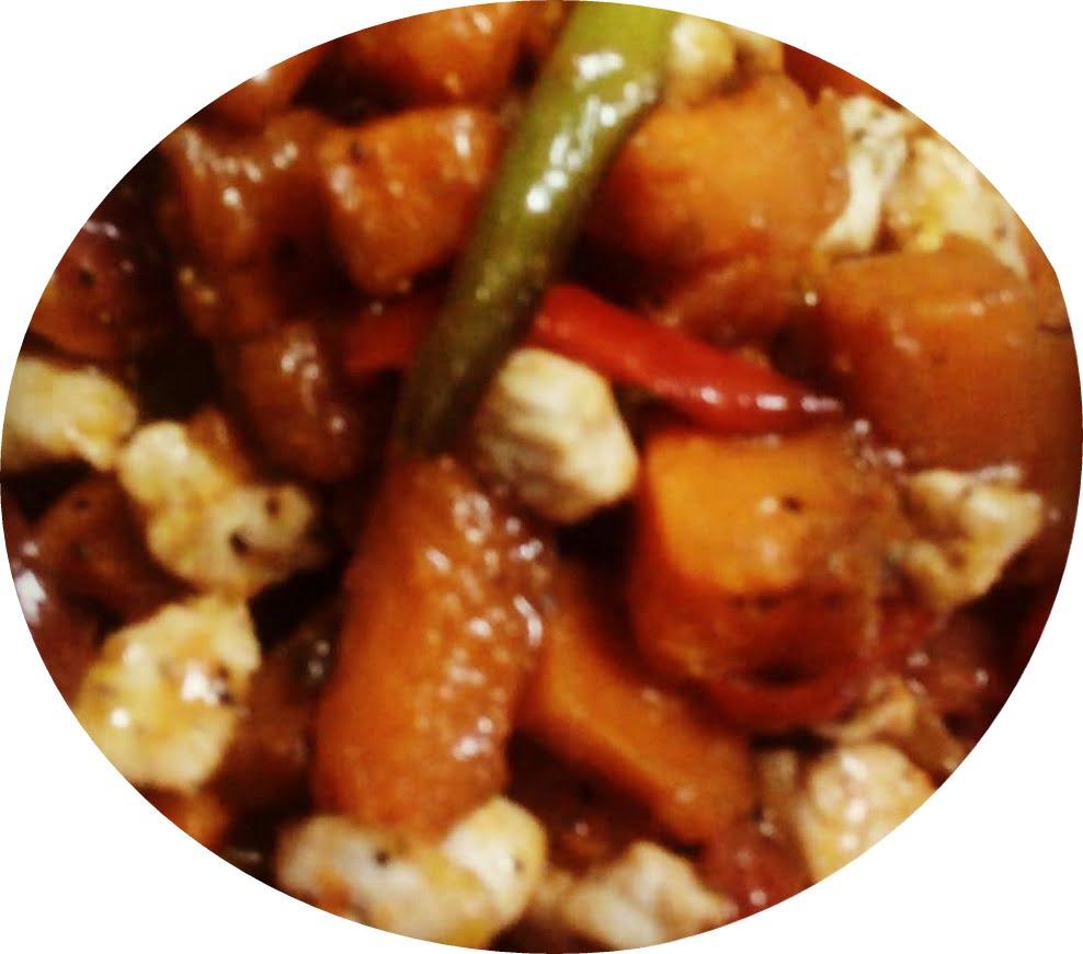 ירקות קונפי וקוביות פרגית חריף מתוק