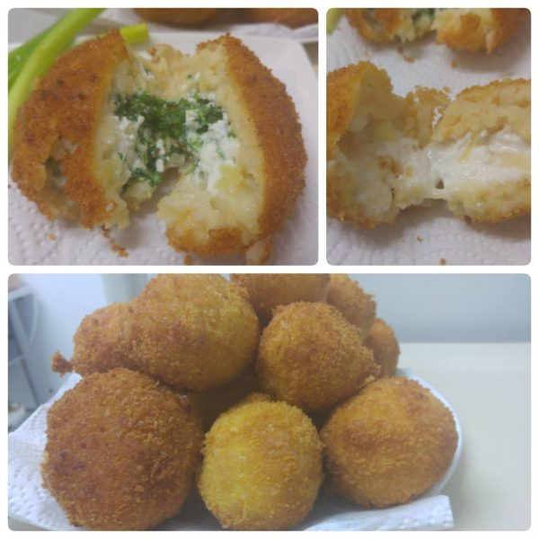 כדורי תפוחי אדמה במילוי תרד/גבינה