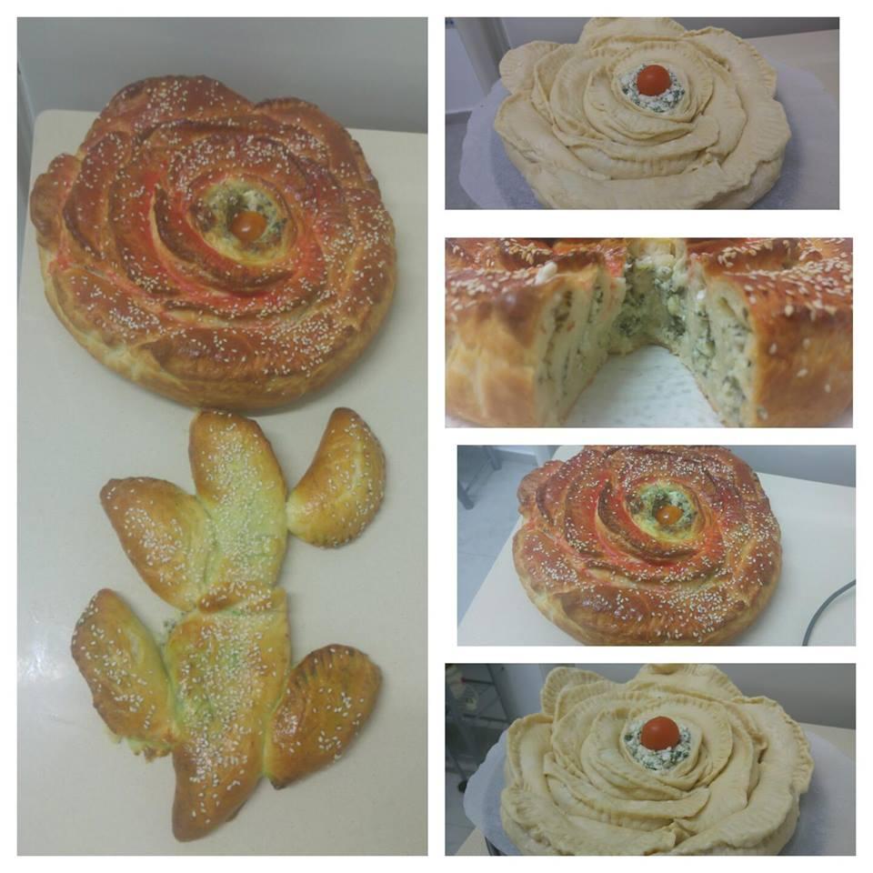מאפה פרח גבינות ותרד