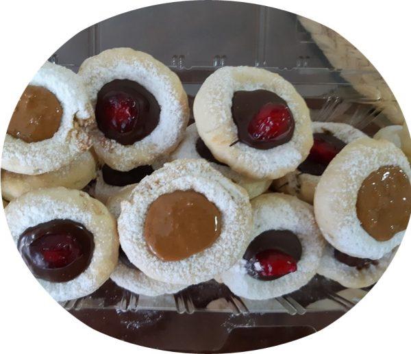 עוגיות במילוי שקדים,אגוזי מלך וקוקוס בציפוי לוטוס