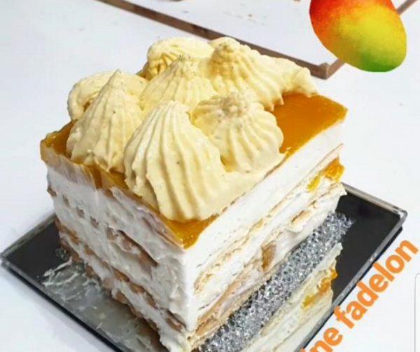 עוגת ביסקוויטים במילוי גבינת מסקרפונה קצפת חלב מרוכז עם מנגו וציפוי מנגו