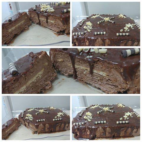 עוגת ביסקויטים עם מוס שוקולד