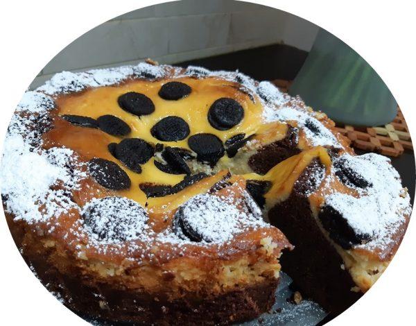 עוגת גבינה על בסיס בראוניז