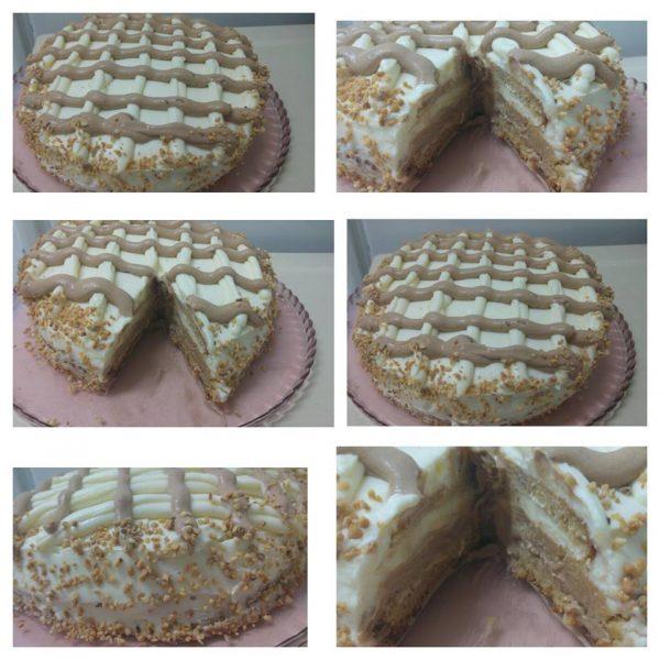 עוגת טורט במילוי מוס שוקולד ומוס ולבן