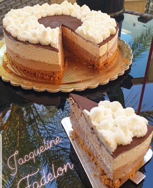 עוגת מוס גבינה עם שוקולד וחמאת בוטנים ללא ג'לטין