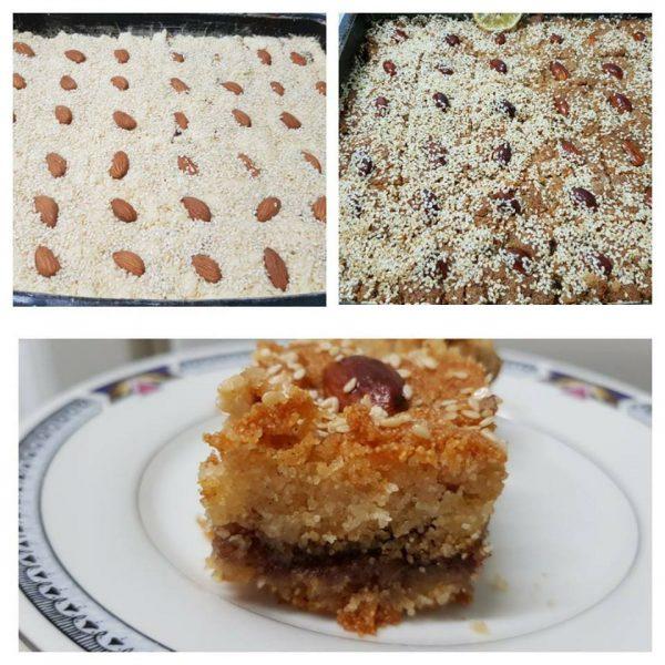 מתכון כתוב + סרטון להכנת עוגת ספרה (סולת) עם ממרח תמרים באמצע_ירדנה ג'נאח
