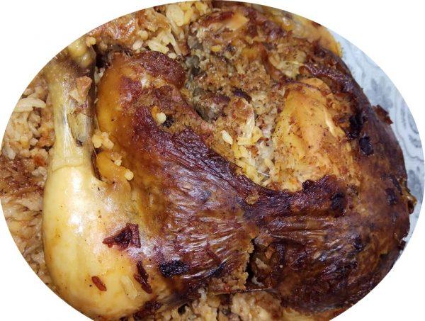 עוף ממולא אורז ובשר
