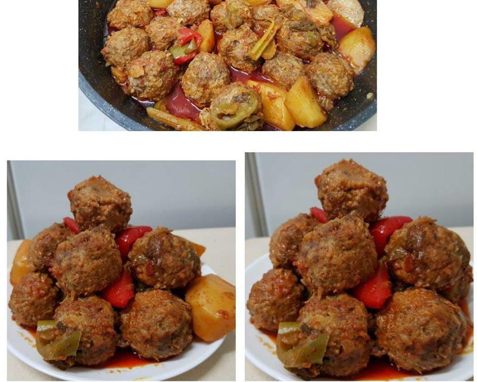 קציצות בשר עם ירקות ברוטב אדום