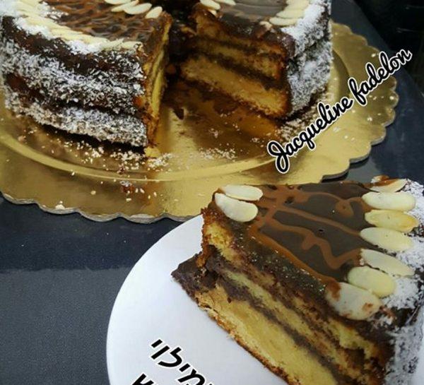 עוגת תפוזים במילוי וציפוי גנאש שוקולד מריר