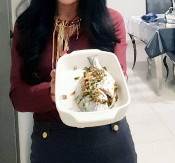 דג דניס טרי במילוי ערמונים ורוטב טריאקי אפוי בתנור