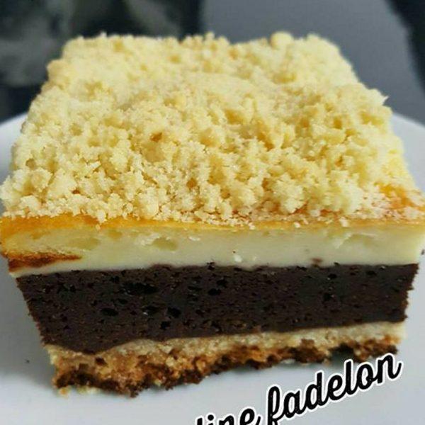 בראוניז גבינה שוקולד עם פירורי בצק