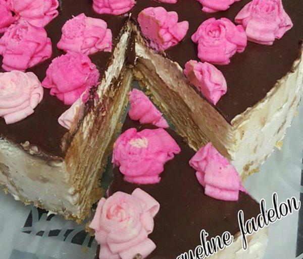 עוגת ביסקוויטים עם גנאש שוקולד