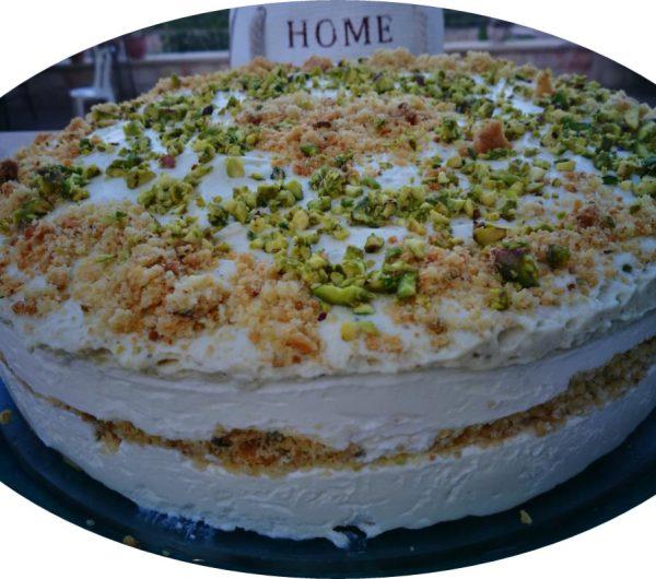 עוגת גבינה פירורים עם פיסטוק_מתכון של שרה יוסף