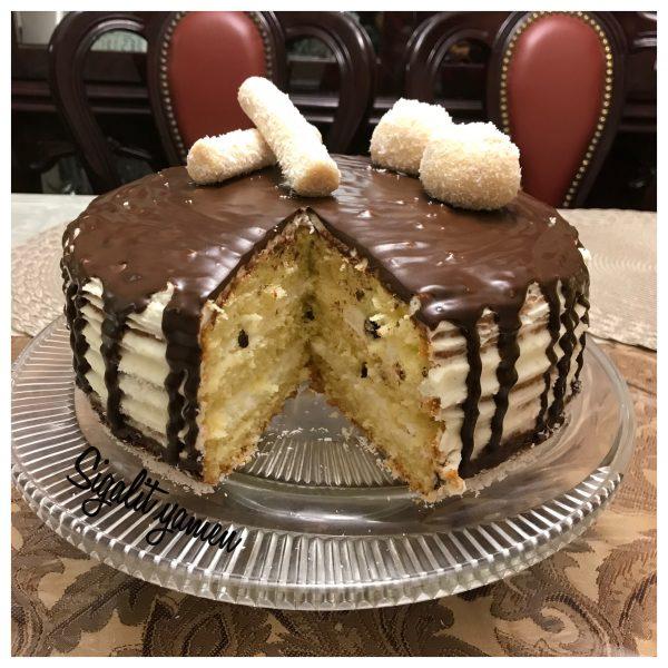 עוגת טורט קוקוס שמנת מתוקה שוקולד צ׳יפס גנאש_מתכון של סיגלית ימין