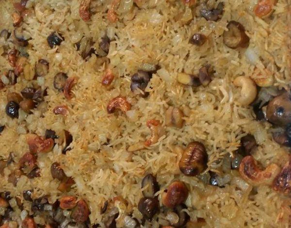 אורז אפוי בתנור עם קשיו וערמונים