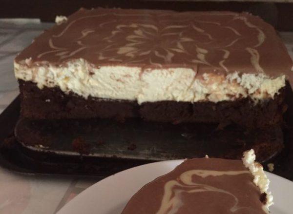שכבות שוקולד וקרם קוקוס עם שוקולד לבן