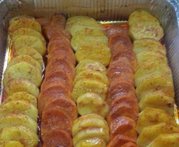 תפוחי אדמה מתוקים ורגילים אפויים בתנור
