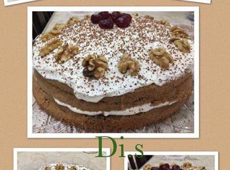 עוגת אגוזים עם קרם שמנת לפסח