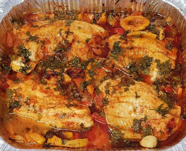 דגים עם ירקות בתנור