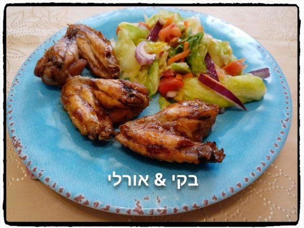 כנפי עוף מתובלות וטעימות בתנור לצד סלט ירקות טעים