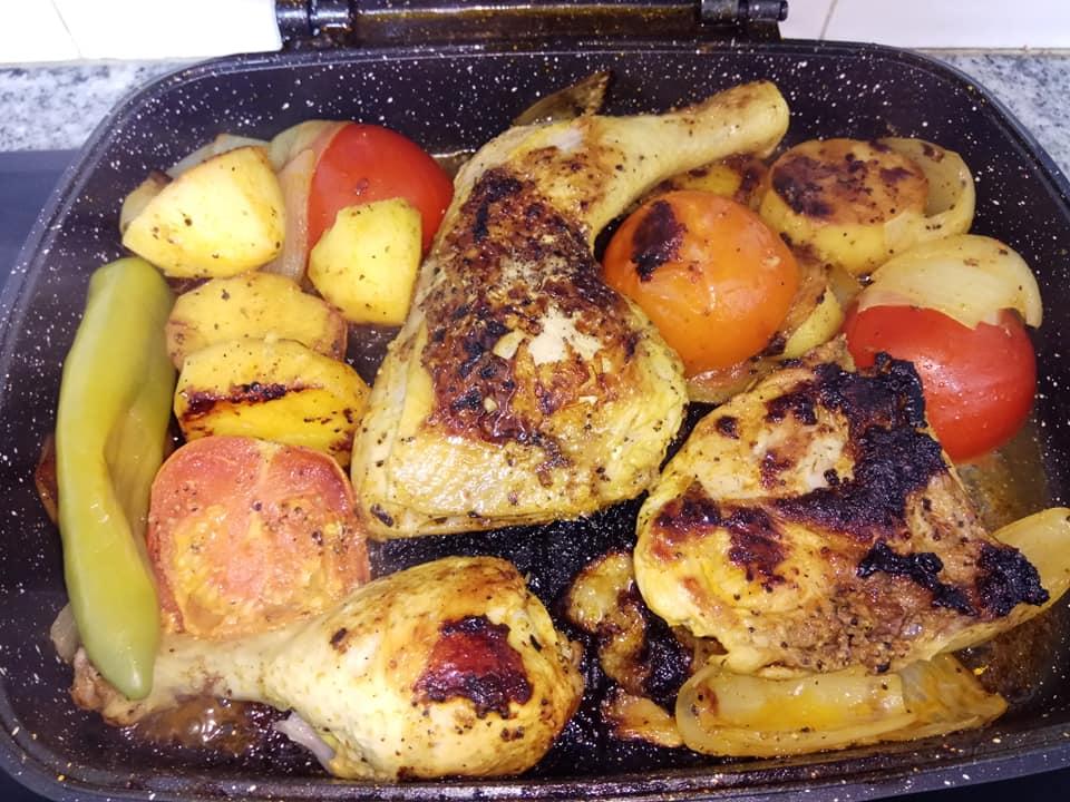כרעיים של עוף עם ירקות בחצי זמן במחבת כפולה