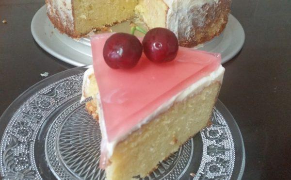 עוגת שמנת, שקדים ושוקולד לבן