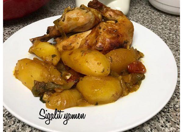 עוף עם תפוחי אדמה בתנור_סיגלית ימין