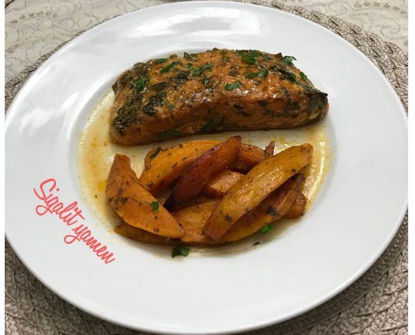 דג סלמון בתנור חמוץ מתוק עם תוספות בטטה כמה שזה טעים🌹_מתכון של סיגלית ימין