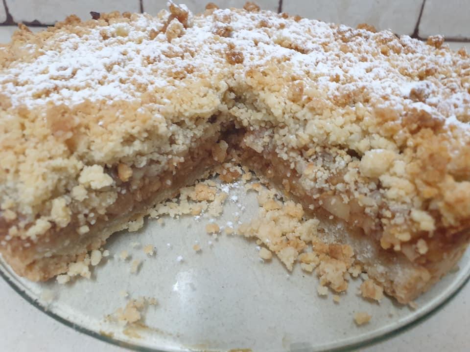 מתכון כתוב + סרטון להכנת עוגת קרמבל תפוחים_מתכון של ירדנה ג'נאח