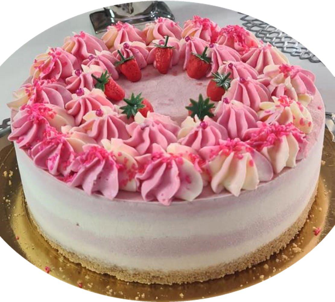 מתכון כתוב + סרטון להכנת עוגת 4 שכבות מוס שוקולד לבן ומוס תותים בזילוף קרם גבינת שמנת_מתכון של  זקלין פדלון