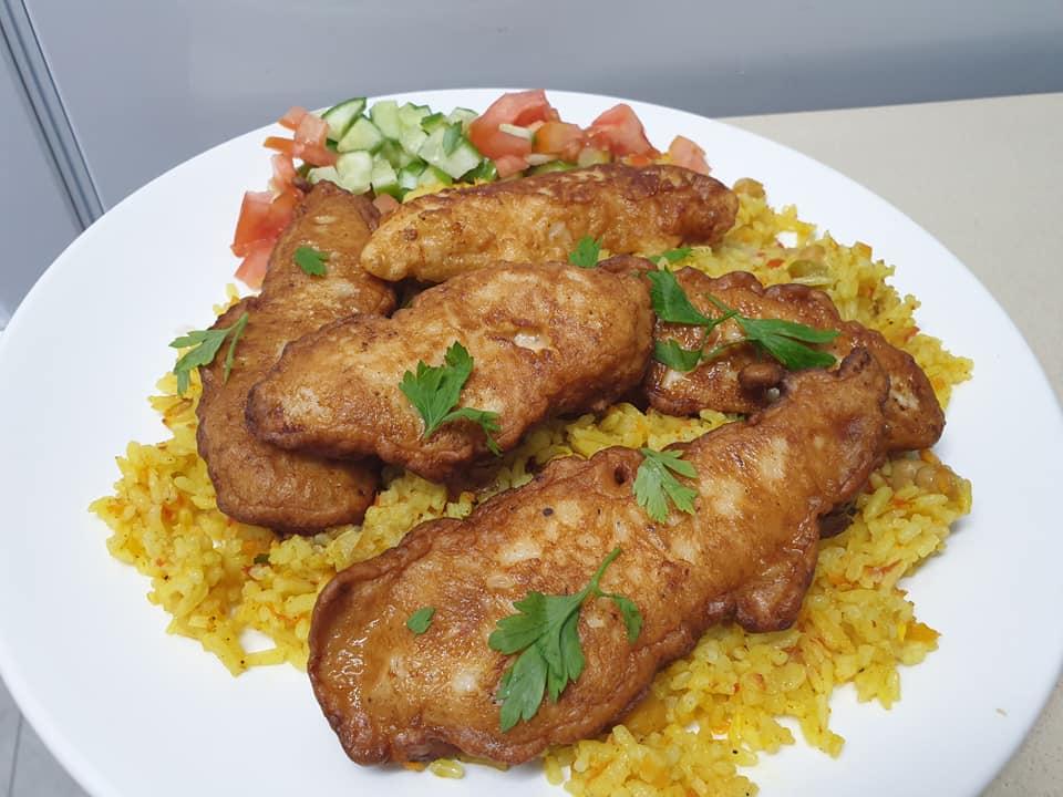 פילטים עוף בטמפורה ואורז עם ירקות ❤ _מתכון של ירדנה ג'נאח