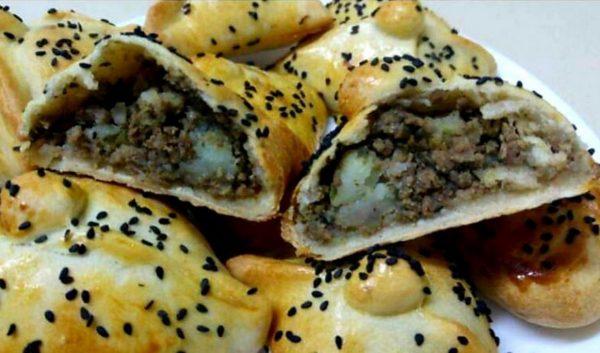 מאפה במילוי בשר ותפוחי אדמה ❤ בצק ללא שמרים ❤_מתכון של ירדנה ג'נאח