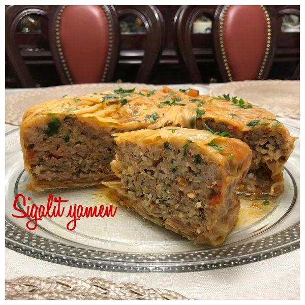 עוגת כרוב במילוי בשר ,אורז ורוטב עגבניות_מתכון של סיגלית ימין
